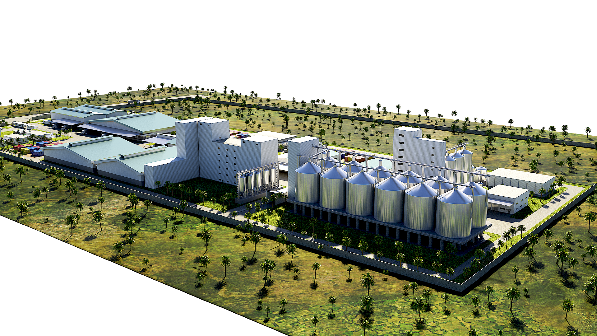 3D Rendering & Modeling Service for Exterior Logistic Plant 01